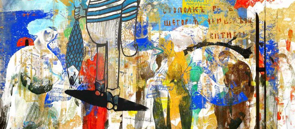 """Collage """"Journey R I"""" (70 x 120 cm) der Künstlerin Oxana Jad"""