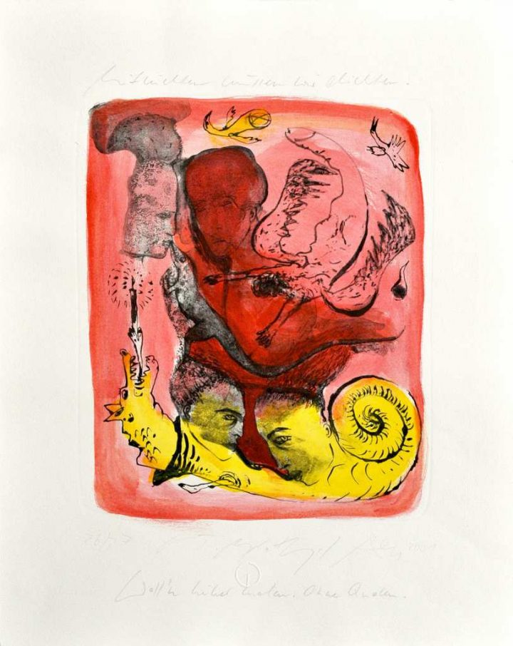 """Die übermalte Lithografie """"Mitnichten wollen wir dichten"""" ist eine Gemeinschaftsarbeit der Künstler Gudrun Trendafilov, Angela Hampel sowie Andreas Dress."""