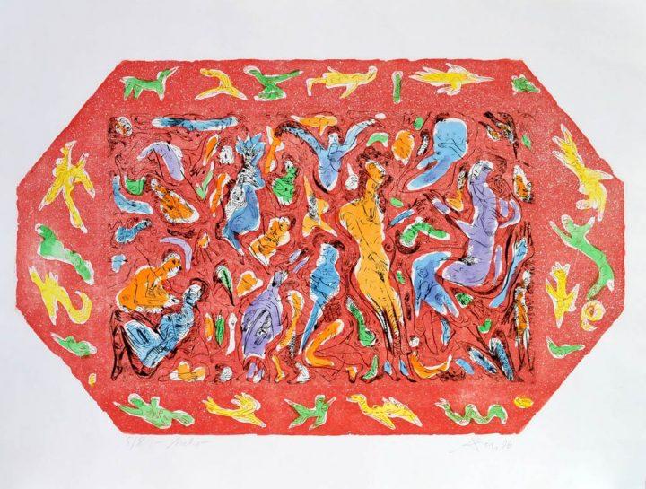 kolorierte Farbradierung des Malers Andreas Dress