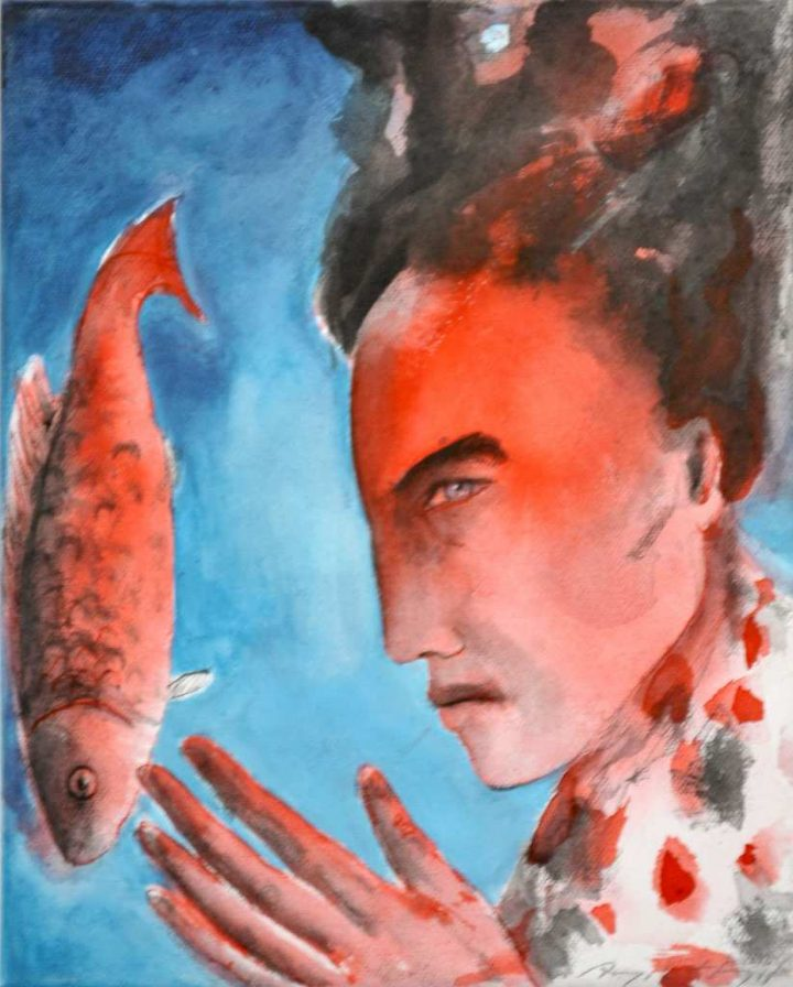 """Die Arbeit """"Die schöne Fischerin"""" der Künstlerin Angela Hampel ist eine Mischtechnik auf Leinwand."""""""