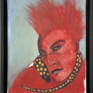 """""""Frau mit Schlange"""" ist eine Mischtechnik auf Leinwand von der Malerin Angela Hampel."""