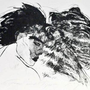 """Algrafie """"Frau mit Tiger"""" der Malerin Angela Hampel"""