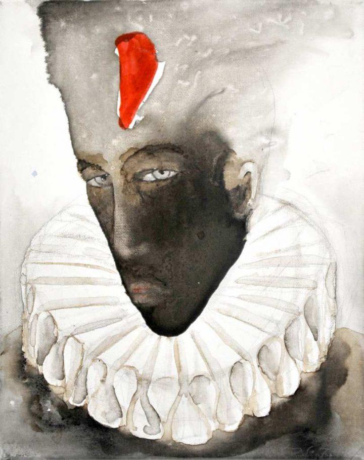 """Das Werk """"Harlekin"""" der Malerin Angela Hampel wurde mit Beize und Tusche auf Leinwand gemalt."""