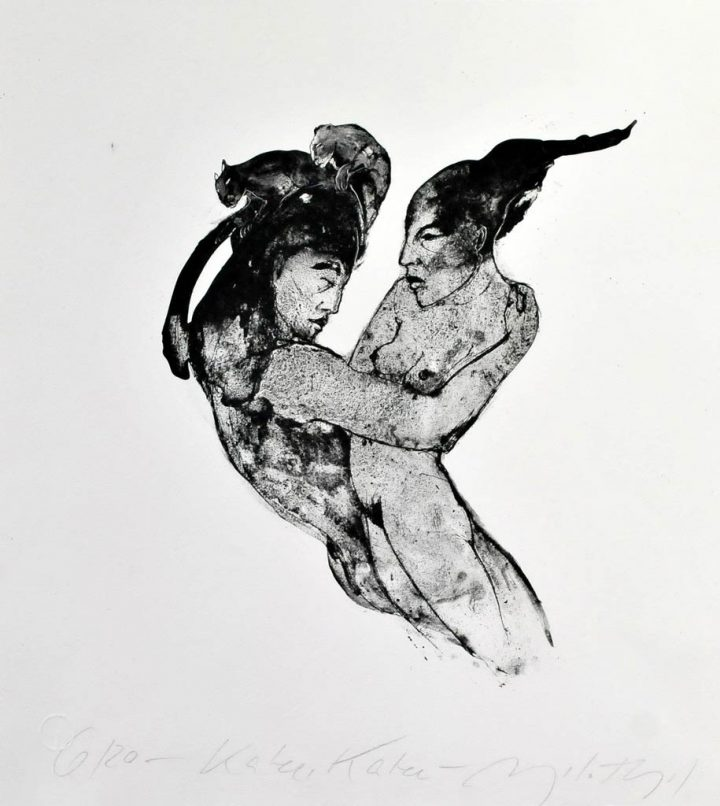 Algrafie der Künstlerin Angela Hampel