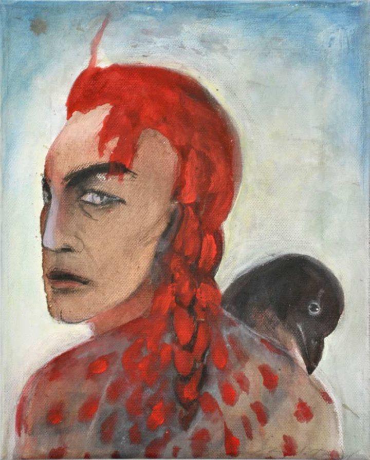 """Bei dem Werk """"Kleiner Rabe"""" handelt es sich um eine Mischtechnik der Malerin Angela Hampel."""