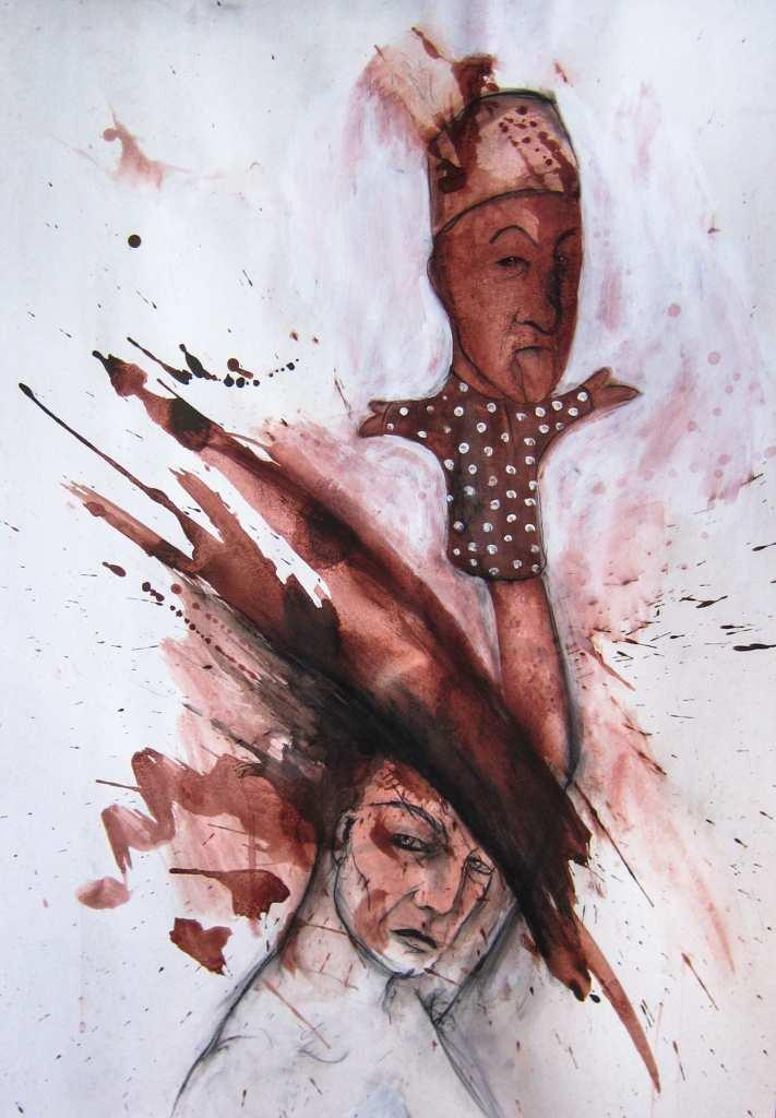 Mischtechnik auf Papier der Künstlerin Angela Hampel