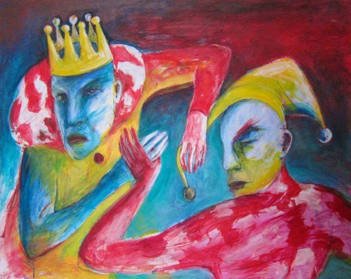 """Die Arbeit """"Bommel ab - Schluss mit lustig"""" der Malerin Angela Hampel ist eine Mischtechnik auf Kabak-Platte."""
