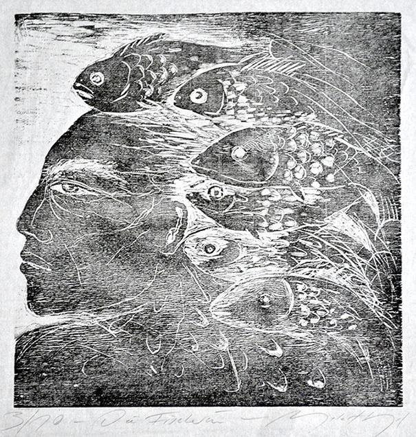 """Signierter und nummerierter Holzschnitt """"Die Fischerin"""" einer sehr kleinen Auflage der Malerin Angela Hampel."""