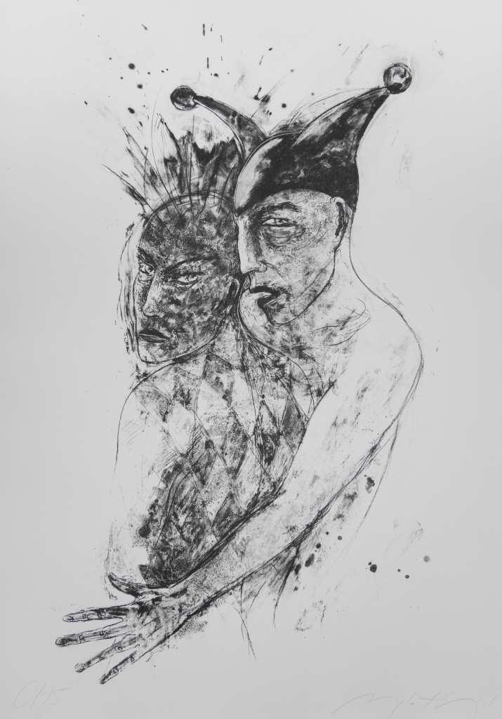 """""""Die Narren bleiben unter sich"""" ist der Titel dieser Algrafie der Künstlerin ANGELA HAMPEL."""