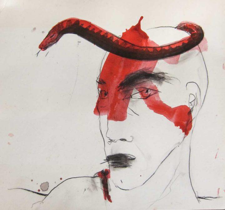 """Aus der Reihe """"Kopf"""" der Künstlerin Angela Hampel ist diese Mischtechnik auf Papier"""