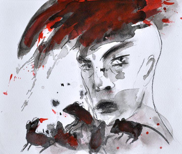 """Mit einer Mischtechnik brachte die Malerin Angela Hampel ihre Arbeit """"Mauserei"""" zu Papier."""