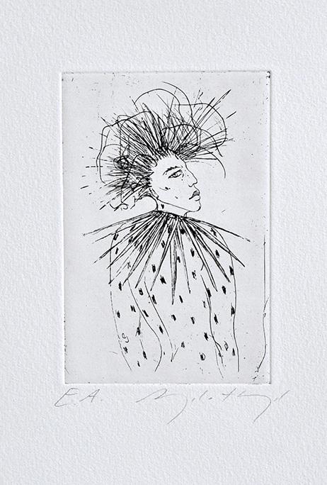 Die Radierung der Künstlerin Angela Hampel hat keinen Titel.