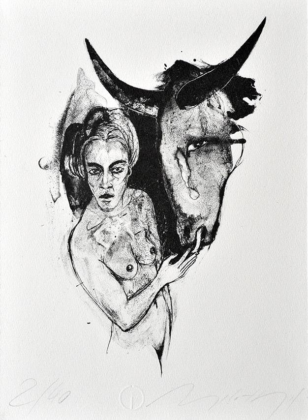 Algrafie der Malerin Angela Hampel.