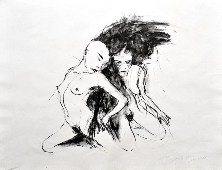 Die Lithografie stammt von der Malerin Angela Hampel. Die Arbeit entstand im Jahr 1988.