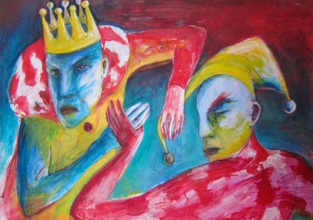 Farbenfrohe Arbeit der Künstlerin Angela Hampel.
