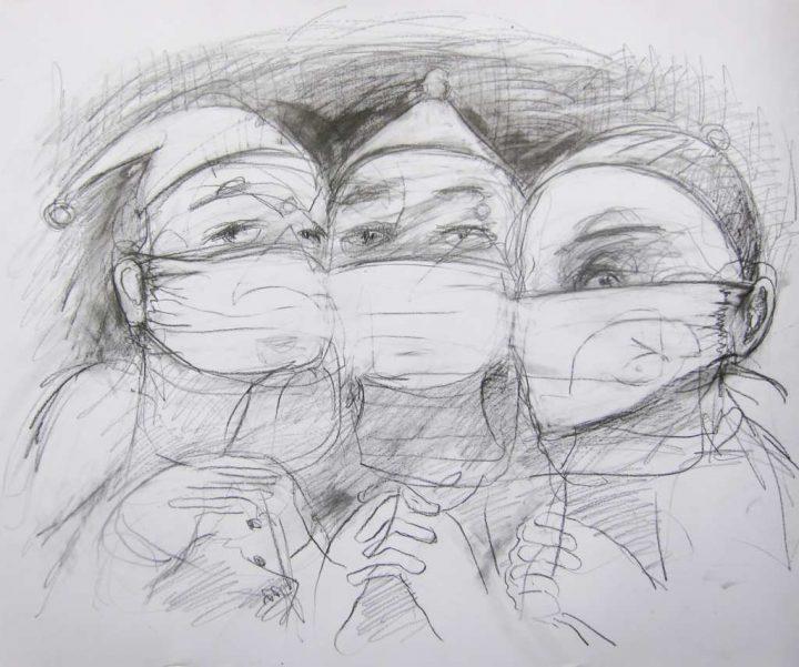 """Mit Sibirischer Kreide auf Papier gebrachte Zeichnung der Künstlerin Angela Hampel. Die Arbeit trägt den Titel """"Coronakasper I""""."""