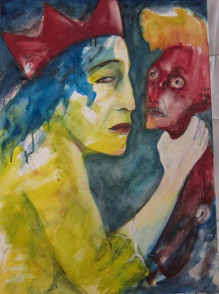 """""""Die Königin und ihr Kasper"""" ist eine Mischtechnik auf Leinwand der Dresdner Künstlerin Angela Hampel."""