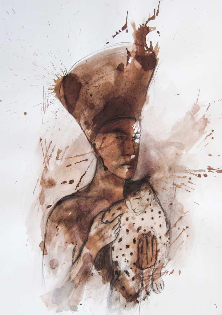 """Die Arbeit der Malerin Angela Hampel ist eine Mischtechnik auf Papier und trägt den Titel """"Die kranke Katze""""."""