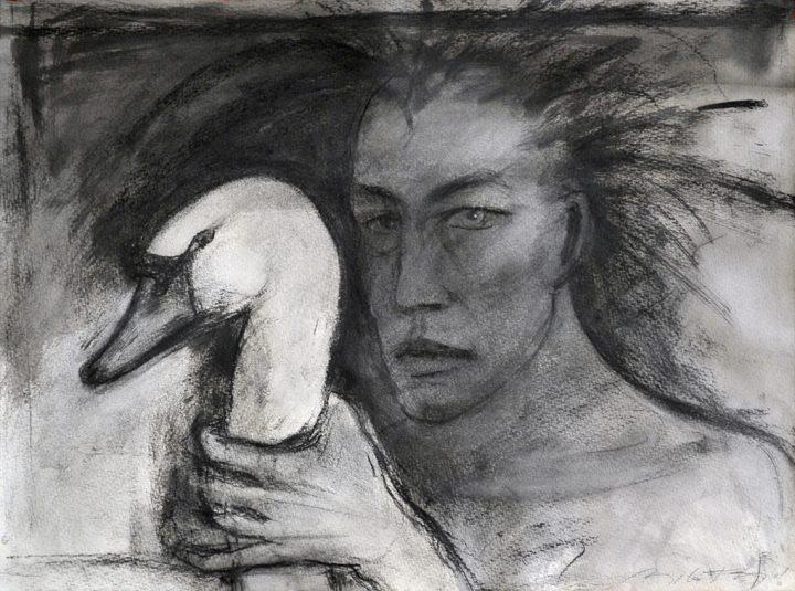 """Zeichnung """"Leda und der Schwan"""" der Künstlerin Angela Hampel"""