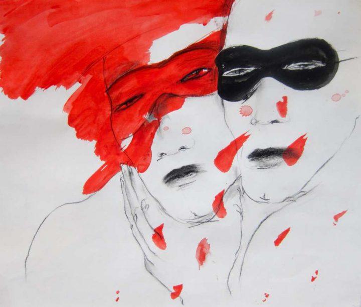 Mischtechnik auf der Papier der Malerin Angela Hampel