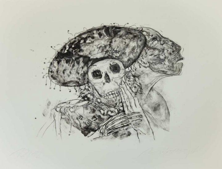 """Die Malerin ANGELA HAMPEL gab ihrer Lithographie den Titel """"Mexikanisches Intermezzo""""."""