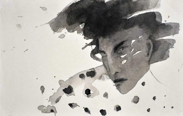 Diese Arbeit ohne Titel der Künstlerin Angela Hampel wurde mit Tusche zu Papier gebracht.
