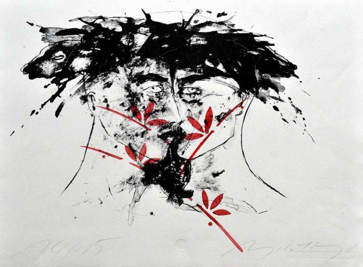 Eine Algrafie/Schablonendruck der Malerin und Künstlerin Angela Hampel.