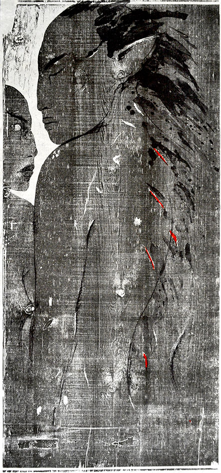 """Holzschnitt """"Sommernachtstraum"""" mit roter Einfärbung gestaltet von der Künstlerin Angela Hampel."""
