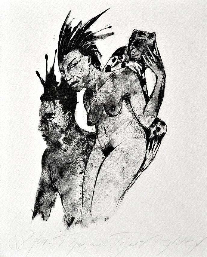 Algrafie der Druckgrafikerin und Künstlerin Angela Hampel aus Dresden.