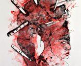 """Farbalgrafie """"Messer im Kopf"""" der Künstlerin Angela Hampel"""