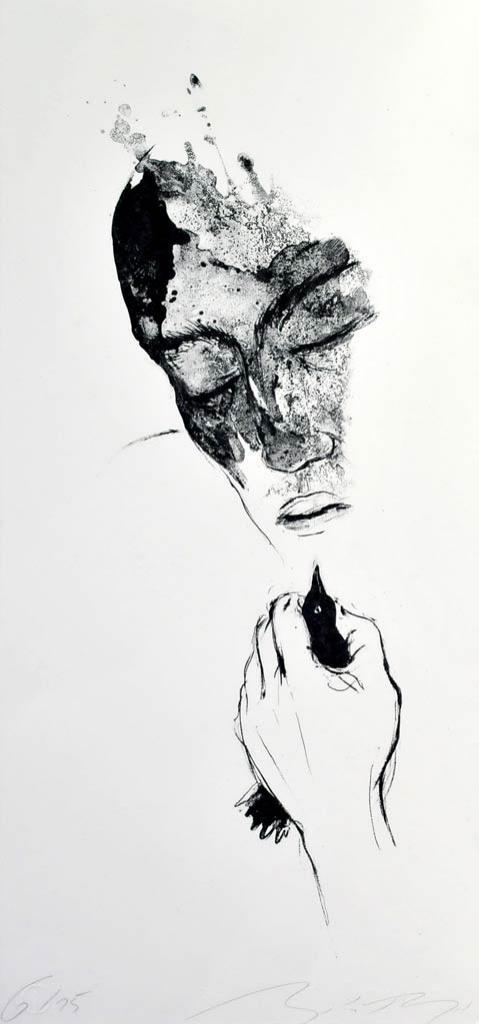"""Algrafie """"Mit Vogel"""" der Künstlerin Angela Hampel"""