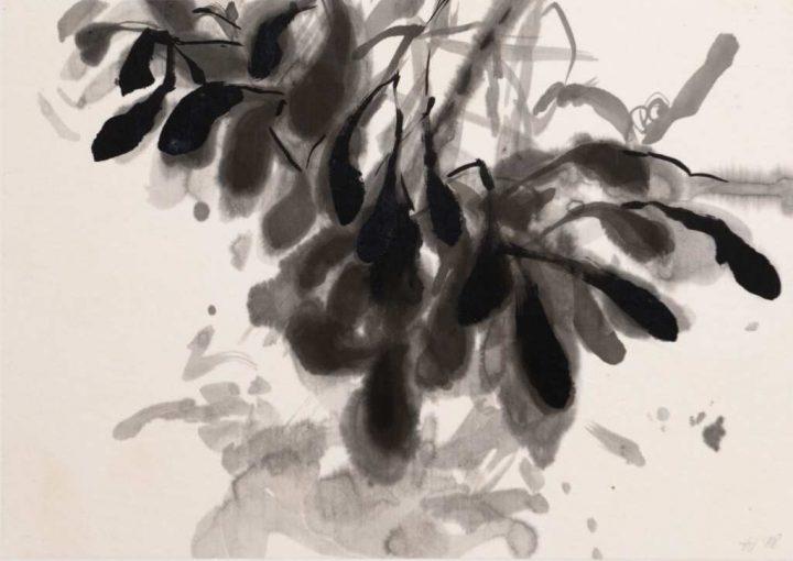 Die 3. Arbeit des Mistelzweig-Zykluses von Anita Voigt wurde von der Künstlerin ebenfalls wieder mit Tusche auf Japanpapier gebracht.