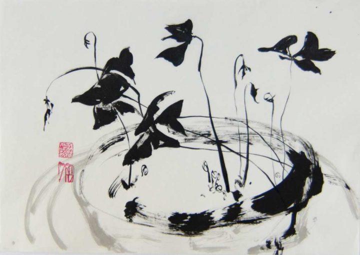 """Die Zeichnung """"Glücksklee"""" ist eine Arbeit der Künstlerin Anita Voigt aus dem Jahr 2021."""