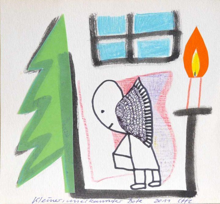 """2011 fertiget die Künstlerin Christiane Latendorf diese Collage mit dem Titel """"Kleiner unbekannter Bote""""."""