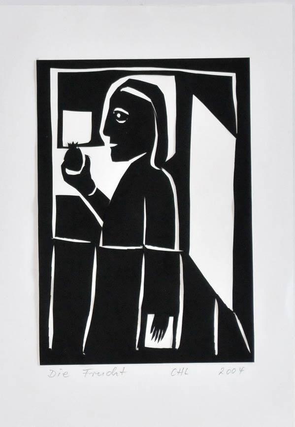 """Papierschnitt """"Die Frucht"""" der Künstlerin Christiane Latendorf"""