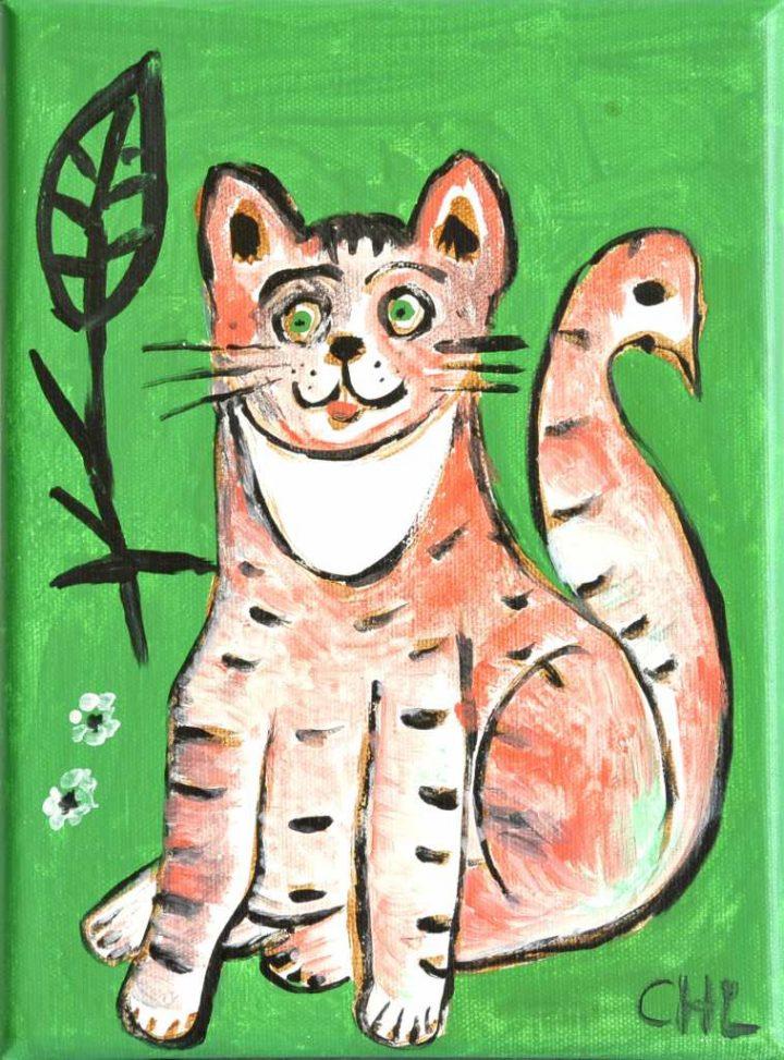 "Mit Acryl auf Leinwand hielt Malerin Christiane Latendorf ""Katze Yohla"" bildlich im Format 10 x 20 cm fest."