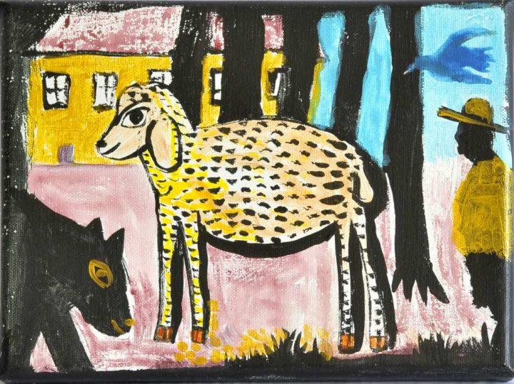 """""""Lämmchen"""" nannte die Malerin Christiane Latendorf ihre Arbeit 2020, die sie mit Acryl auf Leinwand erschuf."""