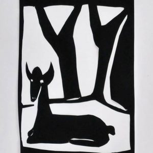 "Papierschnitt ""Reh im Wald"" der Künstlerin Christian Latendorf"