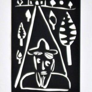 """Papierschnitt """"Unterwegs"""" der Künstlerin Christiane Latendorf aus dem Jahr 2004"""