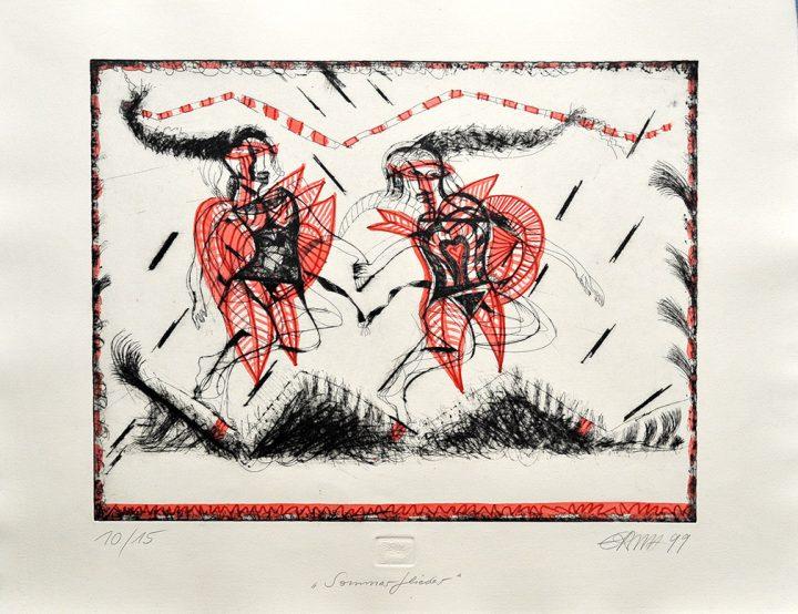 """Die Künstlerin E.R.N.A. gestaltete die kolorierte Radierung """"Sommerflieder""""."""