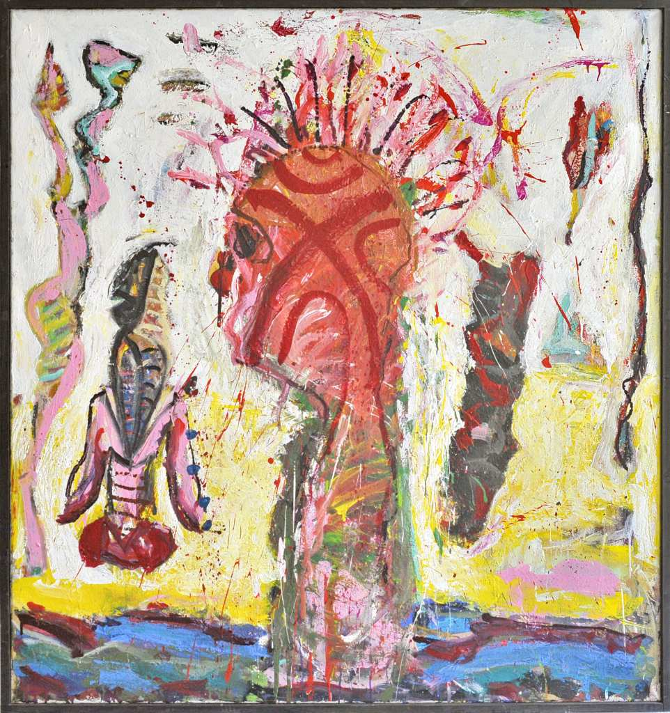 Der Künstler Frank Panse malte 2018 mit einer Mischtenik auf Leinwand seine Arbeit