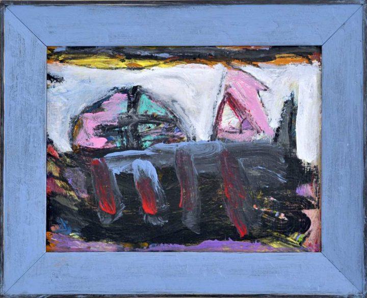 """Der Maler Frank Panse hielt sein Werk """"Das Versteck"""" mit einer Mischtechnik auf Hartfaser 2019 fest."""