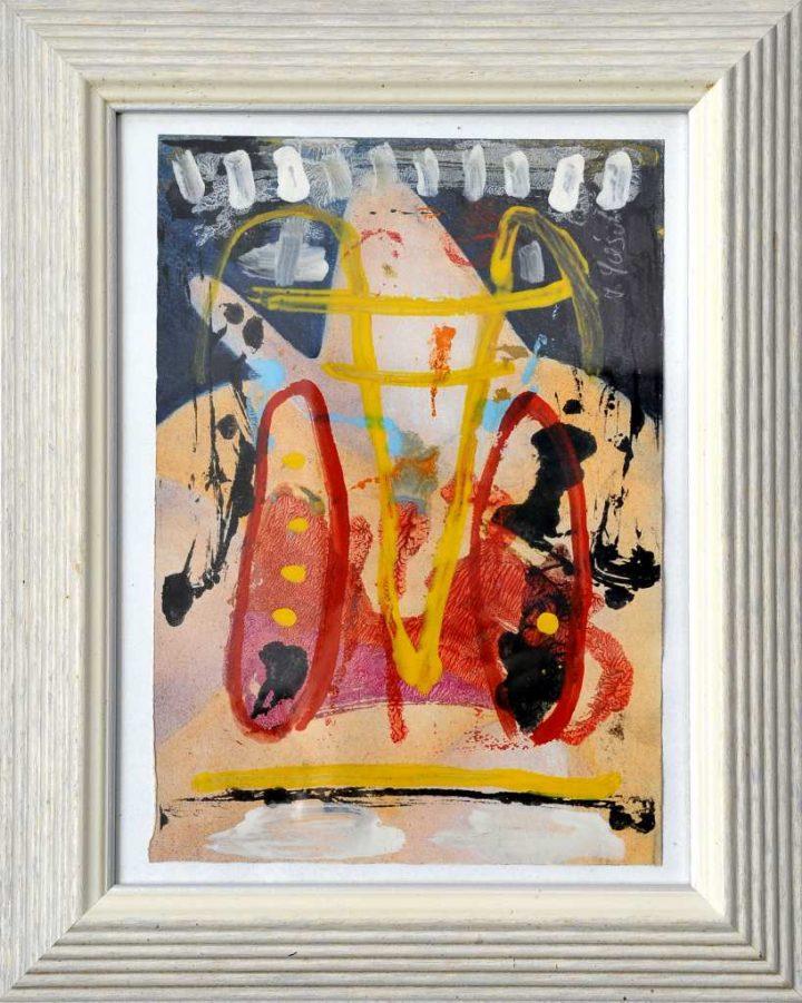 """Mit einer Mischtehnik auf Papie malte Frank Panse 2005 im Format 36 x 25 cm seine Arbeit """"für Wittgenstein""""."""