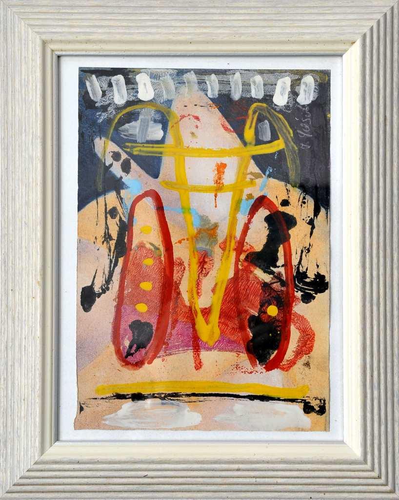 Mit einer Mischtehnik auf Papie malte Frank Panse 2005 im Format 36 x 25 cm seine Arbeit
