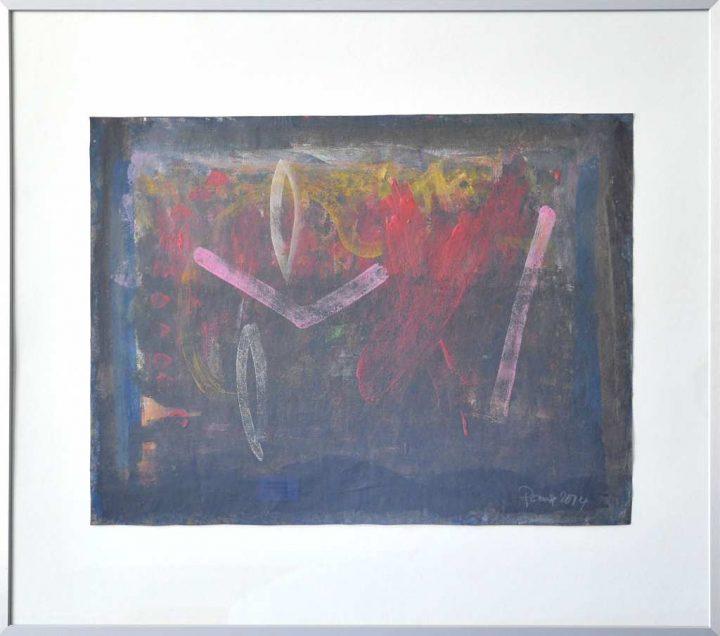"""Mit einer Mischtechnik auf Papier malte der Maler Frank Panse 2014 seine Arbeit """"Hommage an Paul Klee""""."""