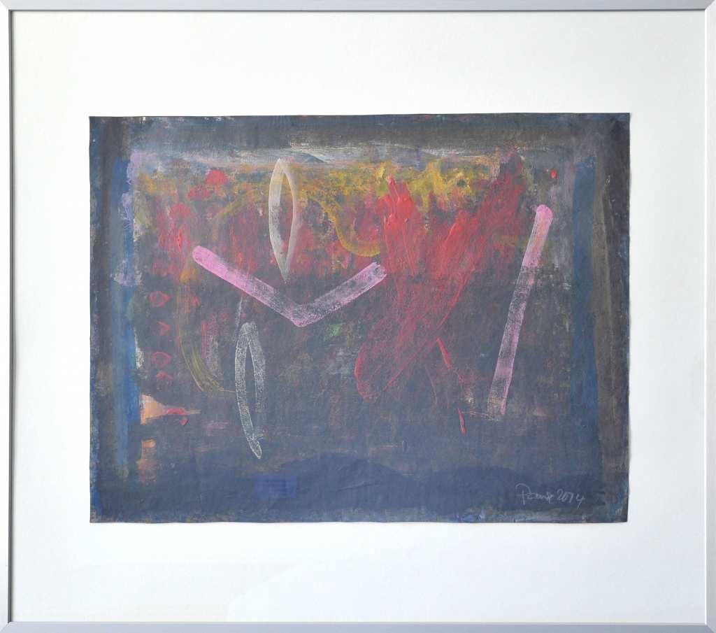 Mit einer Mischtechnik auf Papier malte der Maler Frank Panse 2014 seine Arbeit