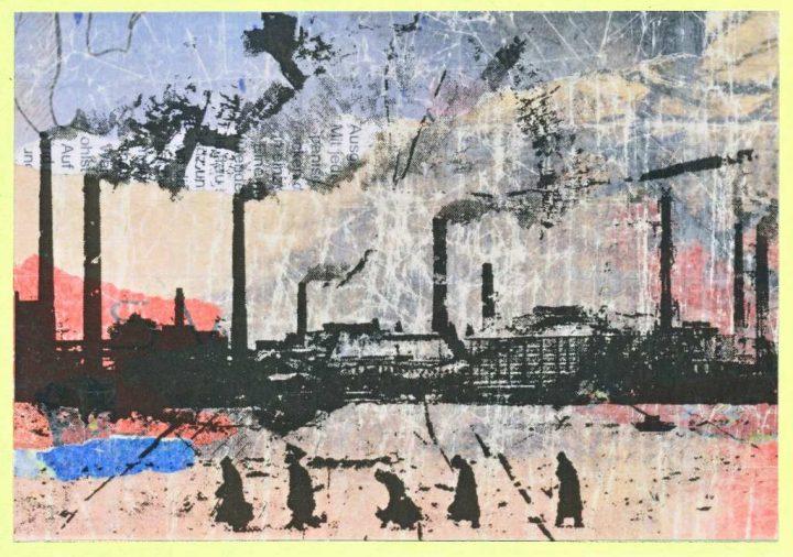 """Collage mit dem Titel """"Wer sich mit den Gespenstern schlägt, verliert, wer's lässt, hat schon verloren"""" des Künstlers Gregor Kunz aus dem Jahr 2007."""