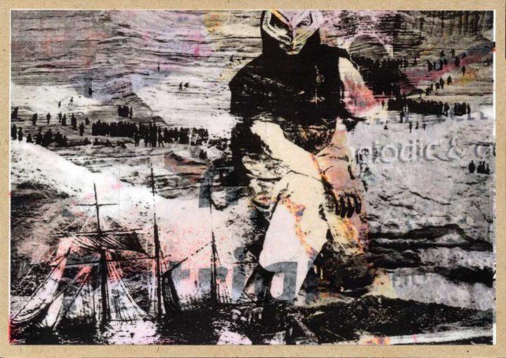 """Die Collage """"Ich bitte, geht den Wind um Schwere an."""" aus dem Jahr 2018 wurde vom Künstler Gregor Kunz gestaltet."""
