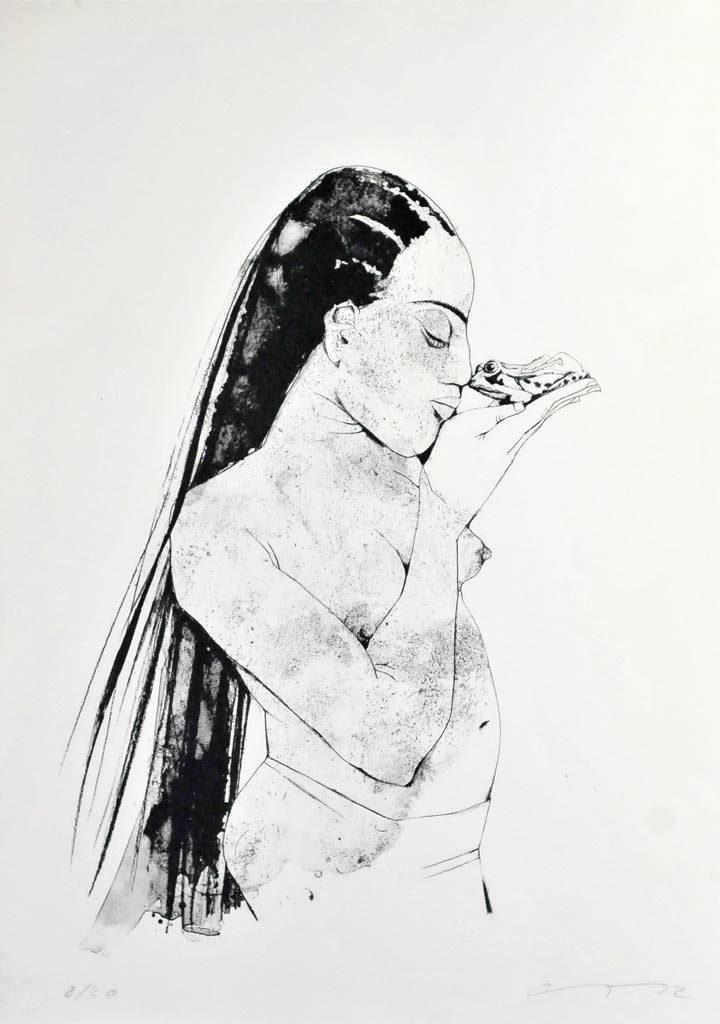 "Algrafie ""Frosch"" der Künstlerin Gudrun Trendafilov"