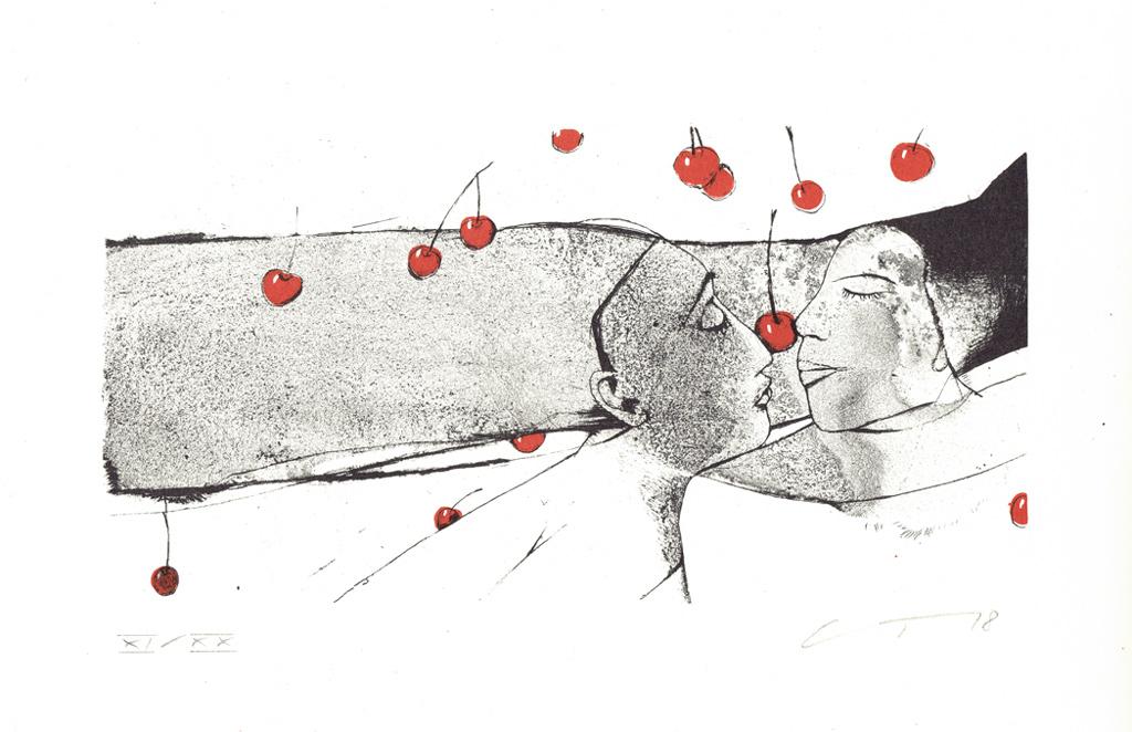 Eine Farbalgrafie der Malerin Gudrun Trendafilov mit dem Titel